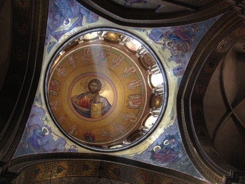 The ceiling in the Church of the Holy Sepulcher.